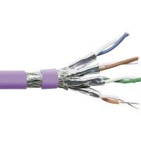 Datový kabel cat.7 duplex S/FTP 4 x 2 x AWG 23/1, stíněný, 1 m, fialová