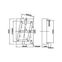 7segmentový displej Kingbright SA40-19 EWA, 100 mm, červená
