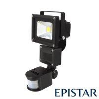LED reflektor venkovní s PIR 10W/800lm EPISTAR, MCOB, AC 230V, černý