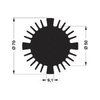 LED chladič Fischer Elektronik SK 570 25 ME 10103817, 2.04 K/W, (Ø x v) 70 mm x 25 mm