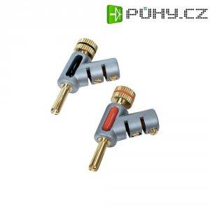 Bezpečnostní konektor, zástrčka úhlová, do 6 mm², Ø 4 mm, 2 ks, červená/černá
