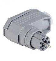 Úhlová síťová zásuvka Hirschmann N6R FF, 60 V, 5 A, šedá, 931 553-106