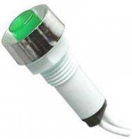 Kontrolka 230V s doutnavkou, zelená do otvoru 10mm, vývody