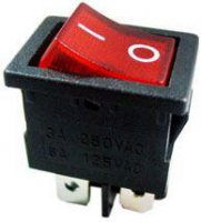 Vypínač kolébkový OFF-ON 2pol.250V/6A červený
