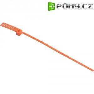 Bezpečnostní stahovací pásek se štítkem HellermannTyton, S30L-N66-RD-T1, červená