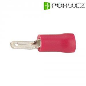 Izolovaná plochá zástrčka, šířka: 6,3 mm, tloušťka: 0,8 mm, červená