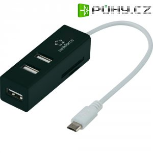 USB HUB s čtečkou SD karet Renkforce, 3x USB 2.0 s OTG