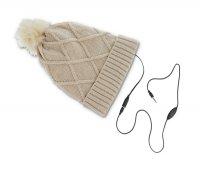 Čepice zimní se sluchátky FOREVER béžová