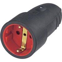 Gumová spojka s ochranným kontaktem, 230 V, 16 A, černá