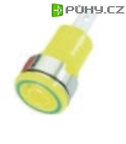Laboratorní zásuvka MultiContact SLB 4-F6,3 (23.3060-20), vestavná vertikální, Ø 4 mm, zelenožlutá