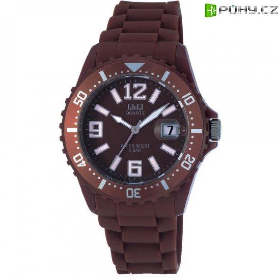 Ručičkové náramkové hodinky Carlton Quartz, silikonový pásek, hnědá - Kliknutím na obrázek zavřete