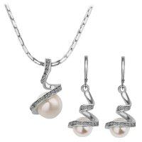 Šperk set Rhinestone Pearl stříbrná barva