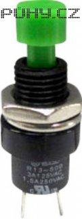 Tlačítko SCI, R13-509A-05GN, 250 V/AC, 1,5 A, vyp./(zap.), zelená