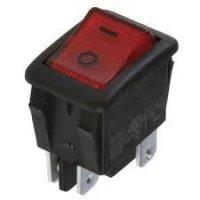 Vypínač kolébkový OFF-ON 2pol.250V/10A červený OMEGA I3913 faston