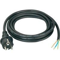 Síťový kabel Conrad, zástrčka s ochr. kontaktem/otevřený konec, 1,5 mm², 3 m, černá