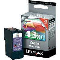 Cartridge Lexmark 43XL, 18YX143, žlutá/cyanová/magenta