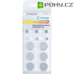 Sada alkalických/lithiových knoflíkových baterií, 18 ks, SZ-AGCR18BT