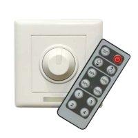 Nástěnný stmívač pro jednobarevné LED pásky 12V/24V, 8A, IR, OLP03