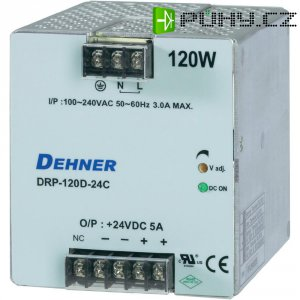 Napájecí zdroj na DIN lištu Dehner Elektronik DRP120D-24CTN, 5 A, 24 V/DC
