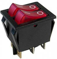 Vypínač kolébkový 2xOFF-ON 250V/15A červený