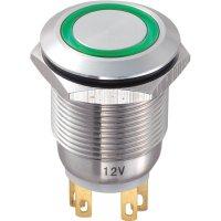 Tlačítko antivandal bez aretace TRU COMPONENTS LAS1-GQ-11E/G/12V, 250 V/AC, 5 A, nerezová ocel, 1x vyp/(zap), zelená