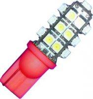Žárovka LED-25x W2,1-T10 12V/1W červená