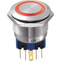Tlačítko antivandal bez aretace TRU COMPONENTS GQ22-11E/R/12V, 250 V/AC, 5 A, nerezová ocel, 1x zap/(zap), červená