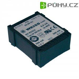 Plochý transformátor Weiss UI 30, 230 V/2x 6 V, 2x 500 mA, 6 VA