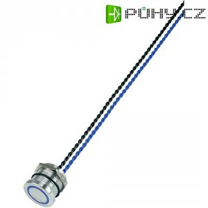 Piezo tlačítko, 24 V DC/AC, 0,2 A, IP 68, PS193P10Y01B24T, modrá LED, ploché