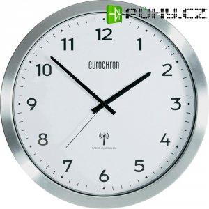 Analogové DCF nástěnné hodiny Eurochron EFWU 2600, Ø 38 cm, hliník, bílá