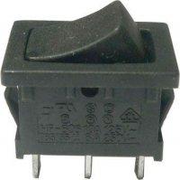 Přepínač kolébkový ON-OFF-ON 1pol.250V/6A černý