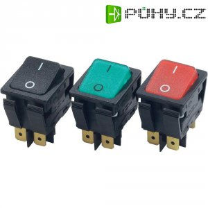 """Kolébkový přepínač \""""Snap In\"""" Arcolectric C6053ALNAF, 2x vyp/zap, 230 V/AC, 16 A, červená/černá"""