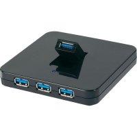4-portový USB 3.0 Hub Conrad černý se sítovým zdrojem