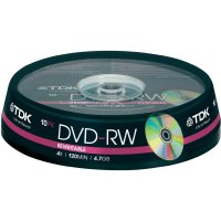 TDK DVD-RW 4,7GB 4X 10 ks cakebox
