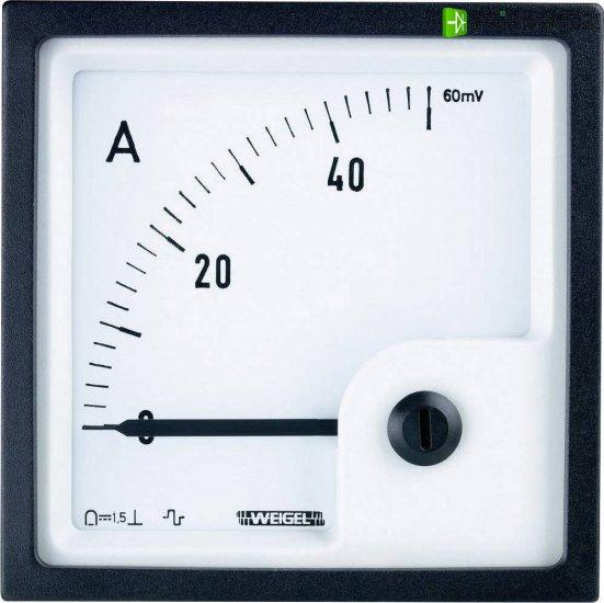 Analogové panelové měřidlo Weigel PQ72K 100A/60mV 100 A/DC (60mV) - Kliknutím na obrázek zavřete