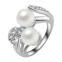 Prsten Shell Pearl barva stříbrná 51mm