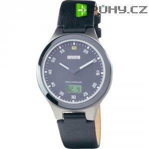 Ručičkové náramkové DCF hodinky Eurochron 402 CT, kožený pásek, černá