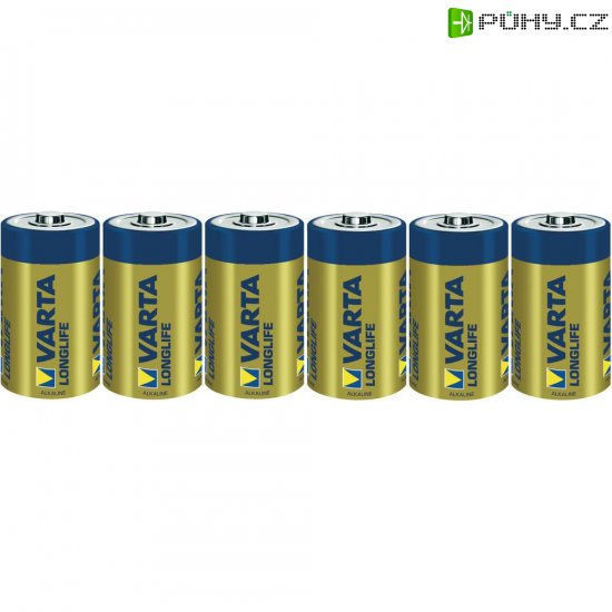 Alkalická baterie Varta Longlife, typ D, sada 6 ks - Kliknutím na obrázek zavřete