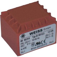 Transformátor do DPS Weiss Elektrotechnik EI 30, prim: 230 V, Sek: 2x 12 V, 63 mA, 1,5 VA