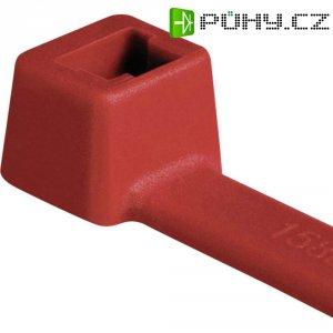 Stahovací pásky HellermannTyton T18R-PA66-RD-C1, 100 x 2,5 mm, 100 ks, červená