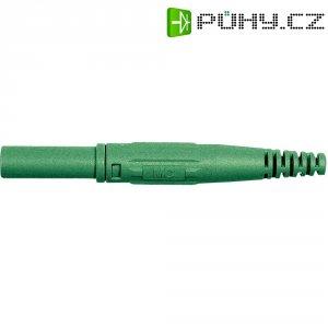 Laboratorní konektor Ø 4 mm MultiContact 66.9196-25, zástrčka rovná, zelená