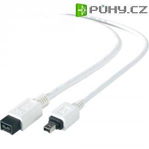 FireWire kabel, vidlice 9pól. (800) ⇔ vidlice 4pól. (400), bílá, 1,8 m