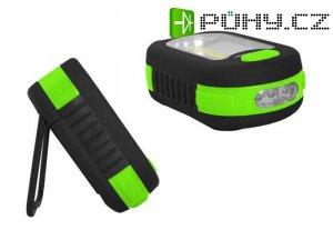 Svítilna LED COB + 3xLED, napájení 3xAAA,, zelená, TIROSS