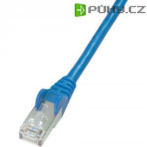 Patch kabel CAT 5e SF/UTP RJ 45, vidlice ⇔ vidlice, 0,5 m, modrý