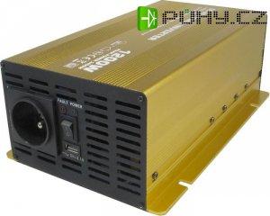 Měnič 12V/230V 1200W, čistá sinusovka, Soluowill NP1200-12