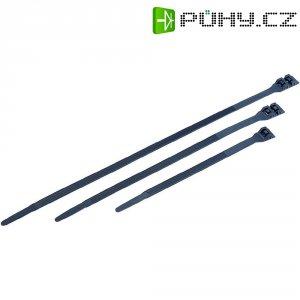 Stahovací pásky s vnějším ozubením, 285 x 9 mm, černá
