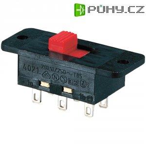 Přepínač posuv. 2p. 2A 250V fast. 2,8 41,0x16,5 mm - červená