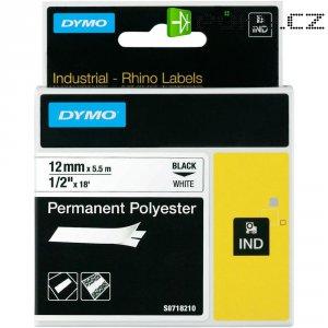 Páska do štítkovače DYMO 18764 (S0718210), 12 mm, IND RHINO, 5,5 m, černá/bílá