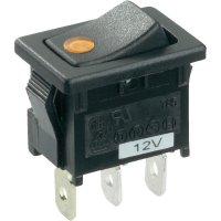 Kolébkový spínač SCI R13-66B2-02 B/B s aretací 12 V/DC, 16 A, 1x vyp/zap, černá, zelená, 1 ks
