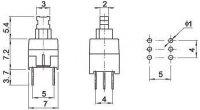 Tlačítko ON-(ON) 2pol.30V/0,1A RESET SWITCH